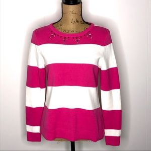 crown & ivy Pink Striped Sweater-Size PS-Like New